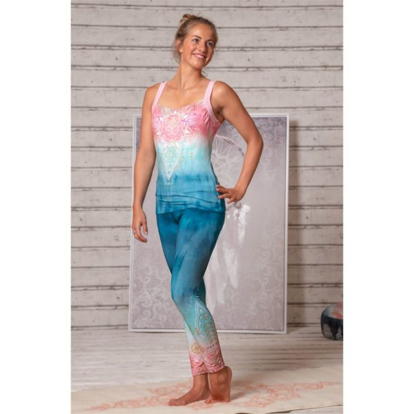 Yoga-Leggings indigo/peach, Damen, Größe XS | S | M 1
