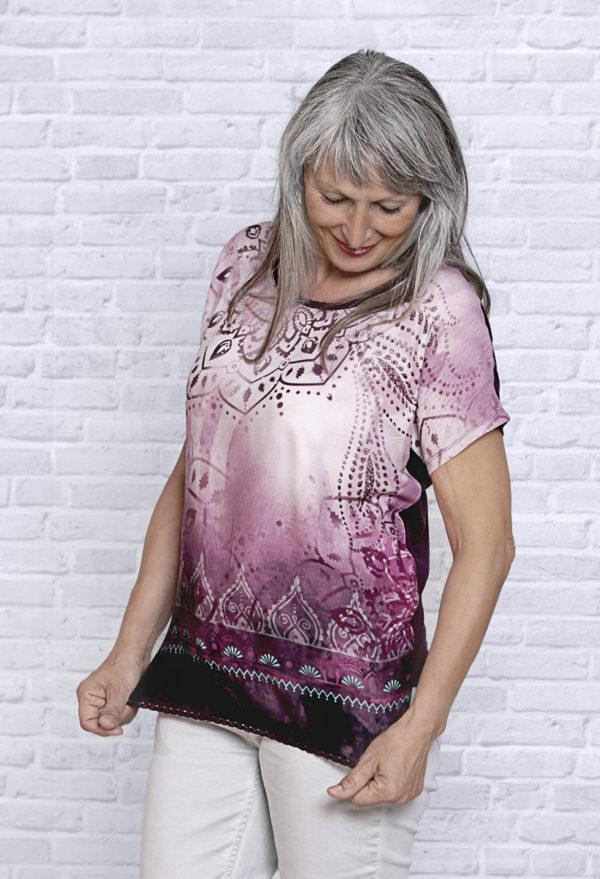 Blusen-Shirt Brombeer-Sahne, Kurzarm 1