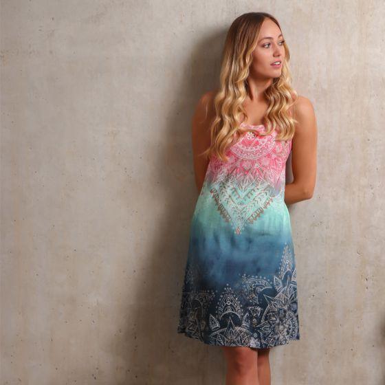 Sommerkleid Mandala, indigo peach Größe M