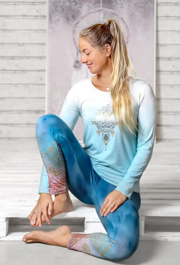 Yoga-Leggings indigo/peach, Damen, Größe XS | S | M 3
