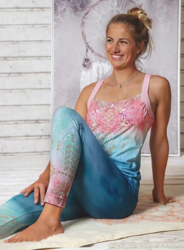 Yoga-Leggings indigo/peach, Damen, Größe XS | S | M 2