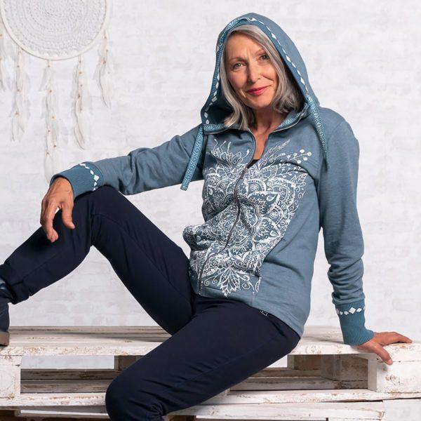 Damen Sweatjacke, Größe S   M Jeansblau 2