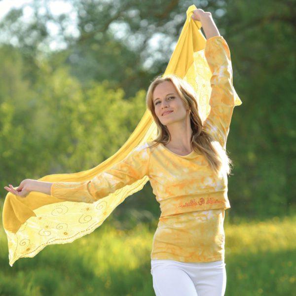Schal aus Bio-Baumwolle mit Spitzentüll sonnengruß 2