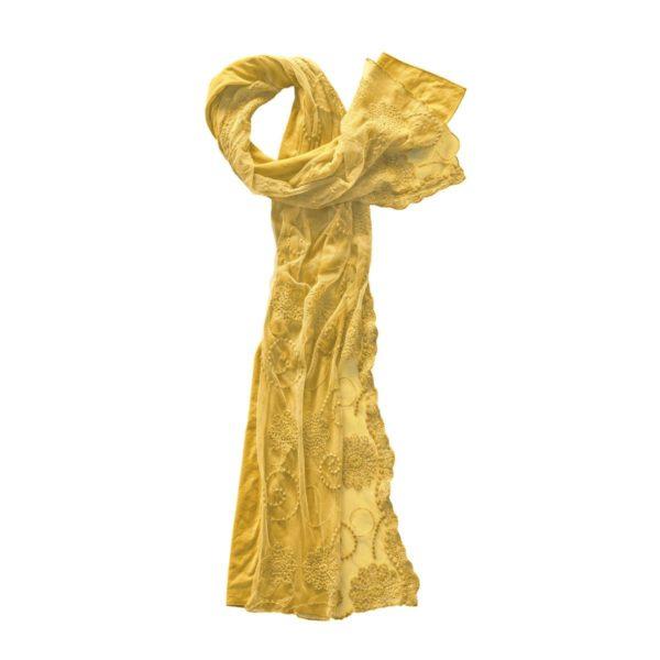 Schal aus Bio-Baumwolle mit Spitzentüll sonnengruß 1
