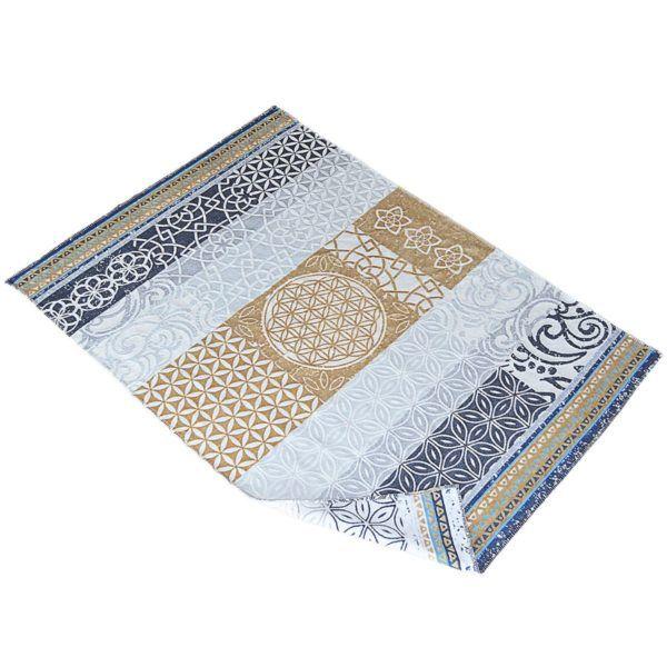 Plaid-Decke, beige-grey-azur 1