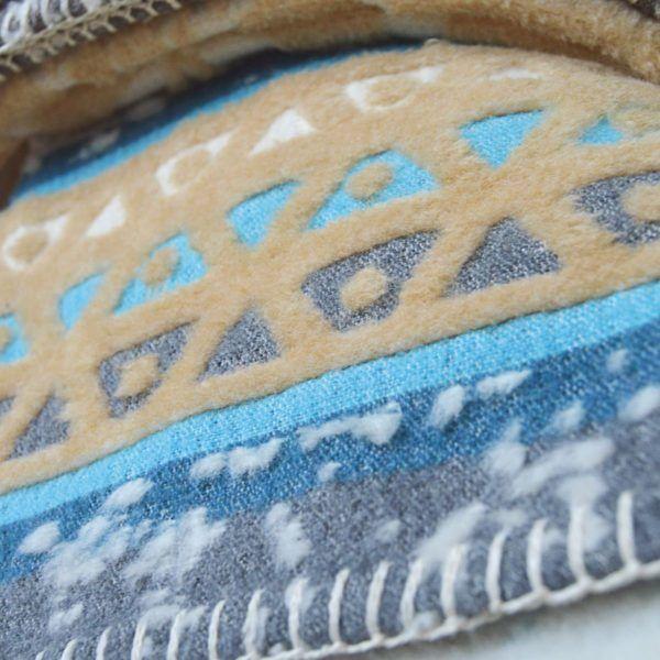 Plaid-Decke, beige-grey-azur 2