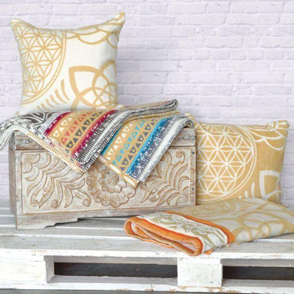 Plaid-Decke, beige-grey-azur 3